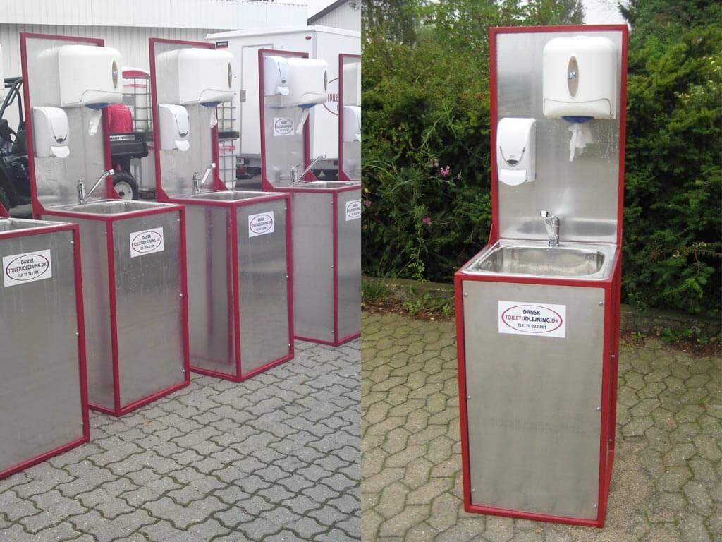 udlejning af mobile håndvaske med spritdispensere som kan opstilles alle steder